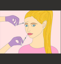 procedure for injecting beauty vector image