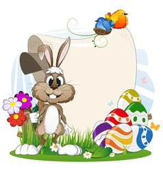 Rabbit with flowers and Easter eggs vector image