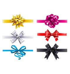 realistic ribbons with bows bow decoration vector image