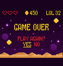 retro game over composition vector image