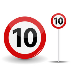 round red road sign speed limit 10 kilometers per vector image