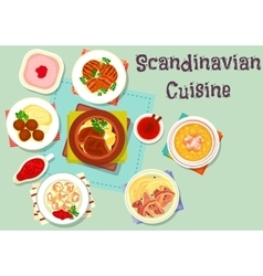 Scandinavian cuisine dish with berry dessert icon vector
