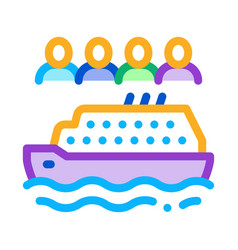 sea crossing liner people icon outline vector image