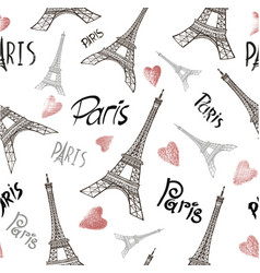 Seamless background with symbols of paris vector