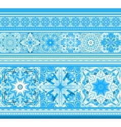 Seamless blue border with snowflakes in mandala vector image