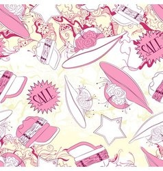 Seamless pattern with ladies hats and fashion vector image