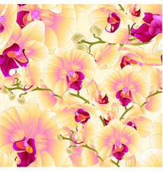 Seamless texture stems orchids yellow flowers vector