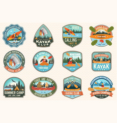 set of canoe and kayak club badges concept vector image