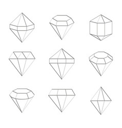 Set of monochrome icons with jewels and diamonds vector