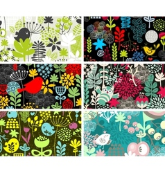 Set of six cards with birds and flowers vector image