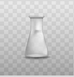 Short glass beaker flask with triangle shape and vector