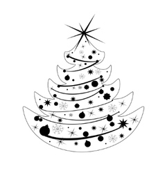 Silhouette Christmas tree vector image