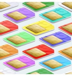 SIM cards seamless pattern background Mobile vector