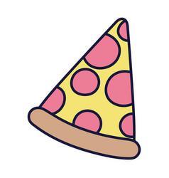 Slice pizza fast food cartoon icon style design vector