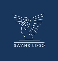 swan logo sign emblem-05 vector image