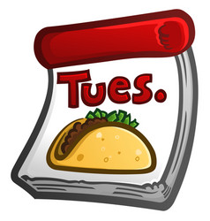 taco tuesday cartoon calendar icon vector image