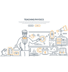 Teaching physics - colorful line design style vector