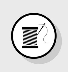 Thread with needle sign flat vector
