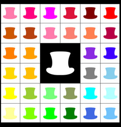 top hat sign felt-pen 33 colorful icons vector image