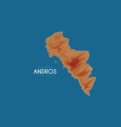 Topographic map of andros greece detailed vector