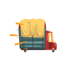 truck loaded with red apples vector image
