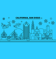 united states san diego winter holidays skyline vector image