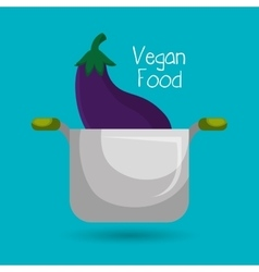 vegan cooking pot nutrition food vector image
