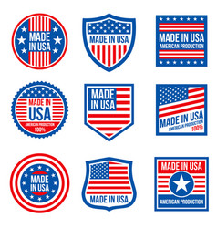 Vintage made in the usa badges american vector