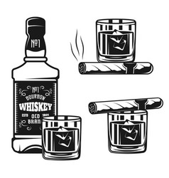 Whiskey bottle with glass and cigar objects vector