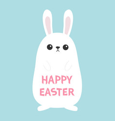 white bunny rabbit funny head face big ears vector image