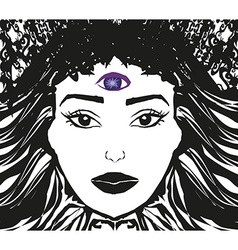 Woman with third eye psychic supernatural senses vector