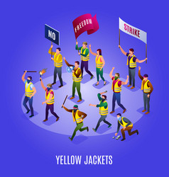 Yellow jackets on demonstration vector