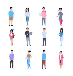 Young asian men and women icons set chinese vector