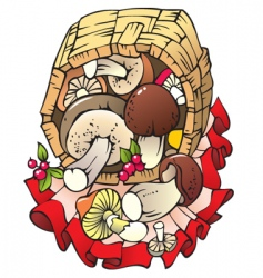 autumn harvest mushrooms in t vector image vector image