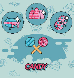 candy flat concept icons vector image vector image