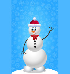 Christmas and new year card with snowman in hat vector