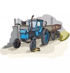 Digital painted old belarus tractor vector image vector image
