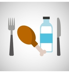 fresh eating chicken thigh bottle water vector image