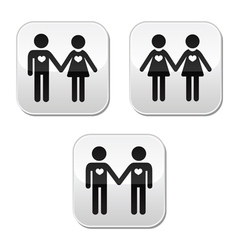 Man and woman gay and lesbian couples buttons vector image