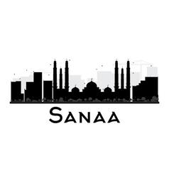Sanaa City skyline black and white silhouette vector image vector image