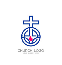 the cross of jesus and the flame vector image