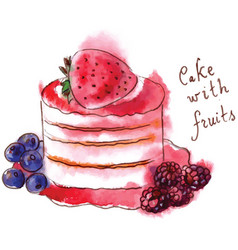 cake with fruits vector image