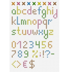Colorful cross stitch lowercase english alphabet vector image