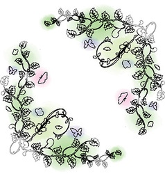 decorative hand drawn frame with watercolor 1807 vector image vector image