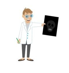 doctor shows a picture of a skull vector image vector image