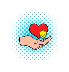 Hand holding red heart icon comics style vector image vector image