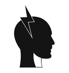 lightning bolt inside head icon simple style vector image vector image