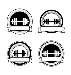 retro bodybuilding badge vector image
