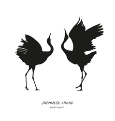 Silhouette of the two dancing Japanese crane vector image vector image