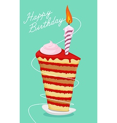 Birthday cake High cake Happy birthday postcard vector image vector image